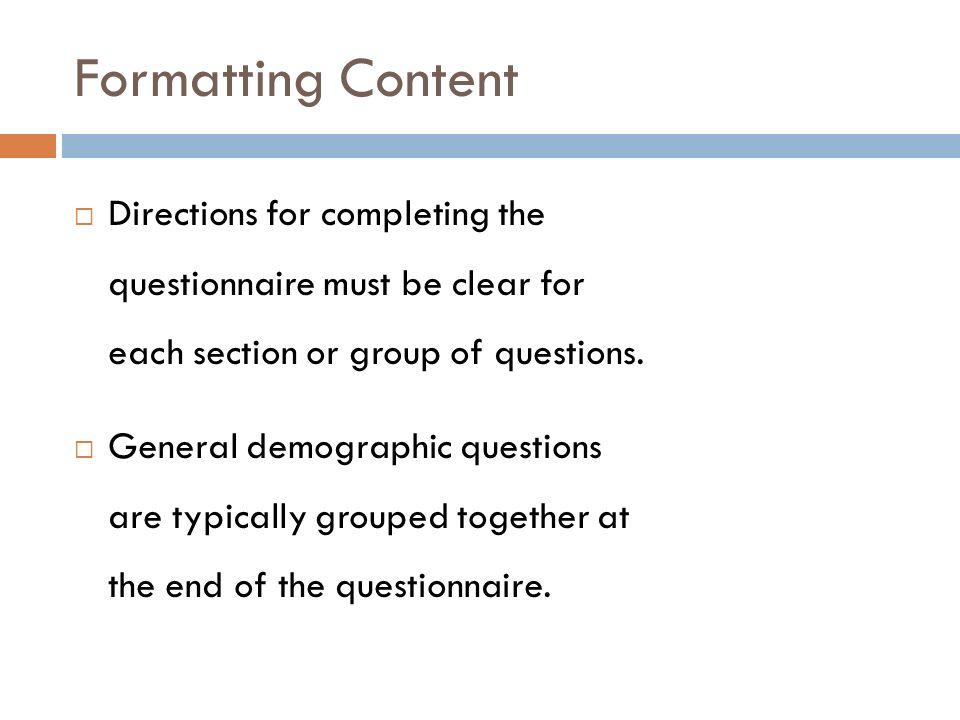 demographic questionnaire