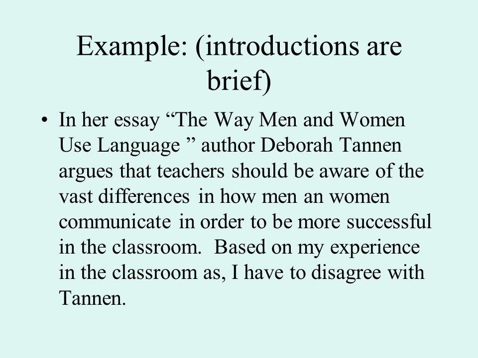 Deborah tannen essay