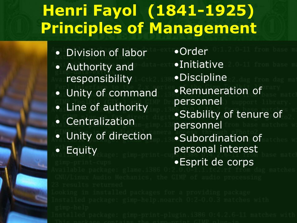 Henri Fayol (1841-1925) Principles of Management Division of labor Authority and responsibility Unity of command Line of authority Centralization Unity of direction Equity Order Initiative Discipline Remuneration of personnel Stability of tenure of personnel Subordination of personal interest Esprit de corps