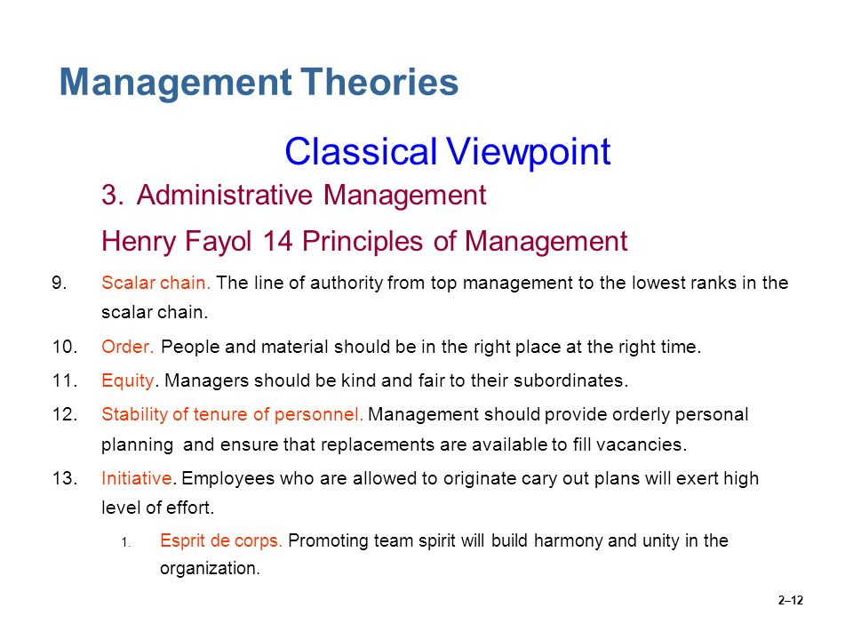 2–12 Management Theories Classical Viewpoint 3.Administrative Management Henry Fayol 14 Principles of Management 9.Scalar chain. The line of authority