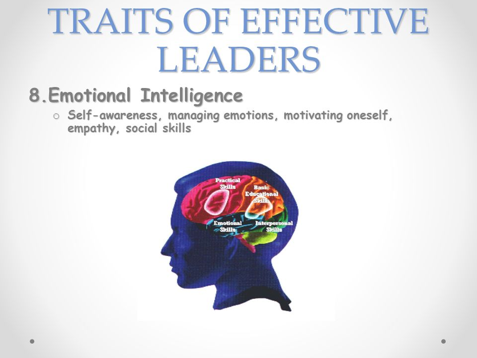 TRAITS OF EFFECTIVE LEADERS 8.Emotional Intelligence o Self-awareness, managing emotions, motivating oneself, empathy, social skills
