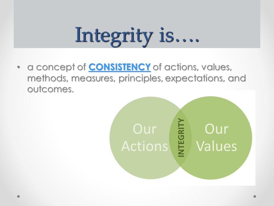 Integrity is…. a concept of CONSISTENCY of actions, values, methods, measures, principles, expectations, and outcomes. a concept of CONSISTENCY of act