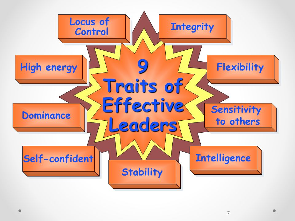 7 Locus of Control Locus of Control Integrity High energy Flexibility Dominance Sensitivity to others Sensitivity to others Self-confident Intelligenc