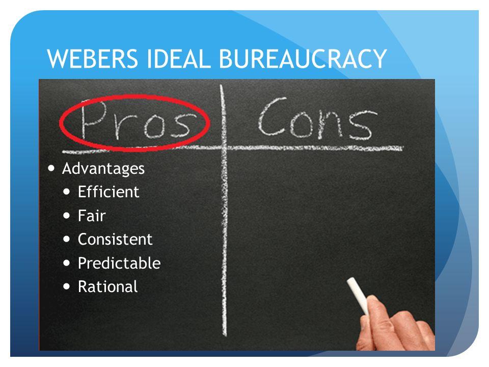 WEBERS IDEAL BUREAUCRACY Advantages Efficient Fair Consistent Predictable Rational