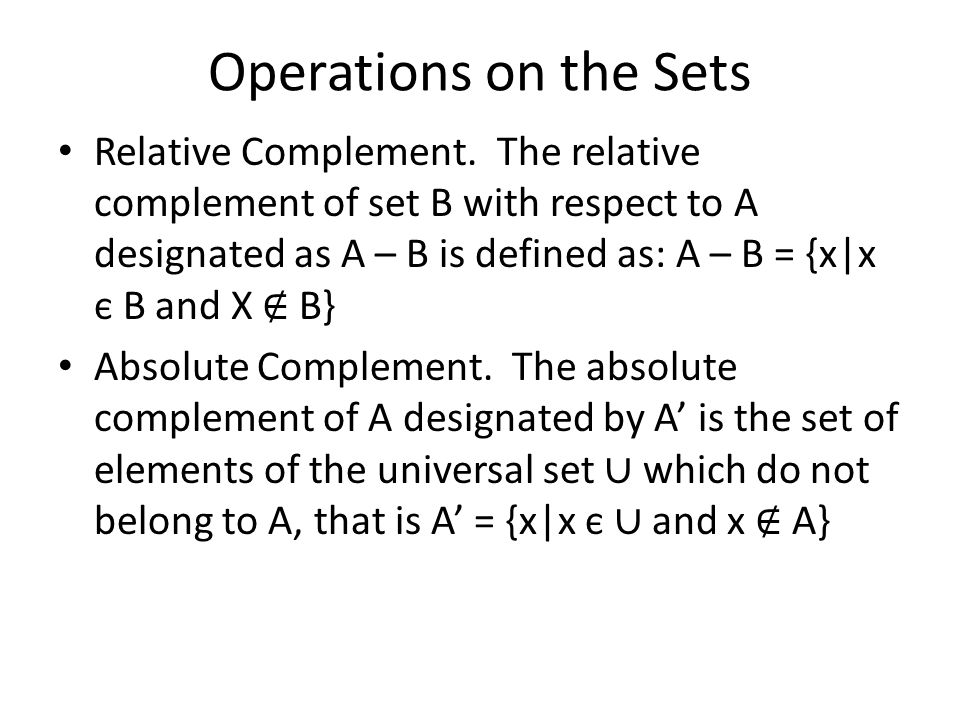 Operations on the Sets Relative Complement.