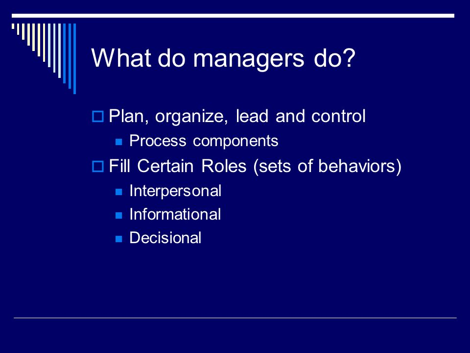 What do managers do?  Plan, organize, lead and control Process components  Fill Certain Roles (sets of behaviors) Interpersonal Informational Decisi
