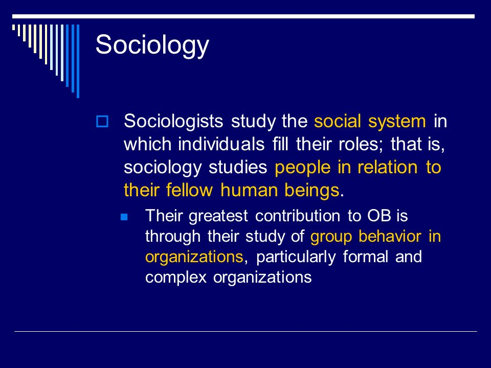 Sociology  Sociologists study the social system in which individuals fill their roles; that is, sociology studies people in relation to their fellow