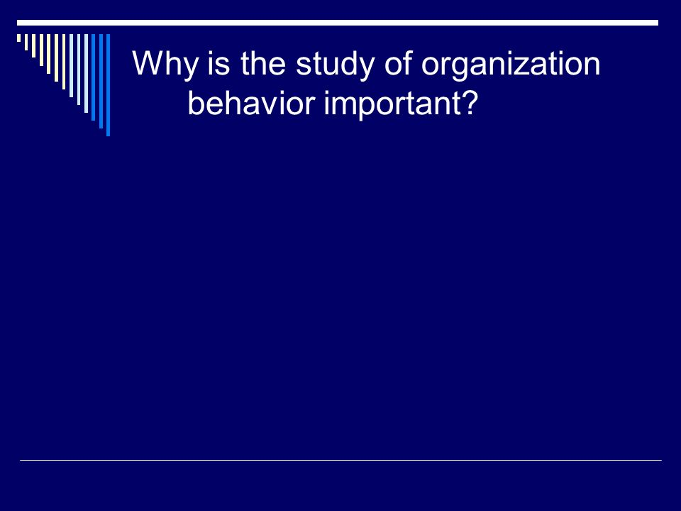 Why is the study of organization behavior important?