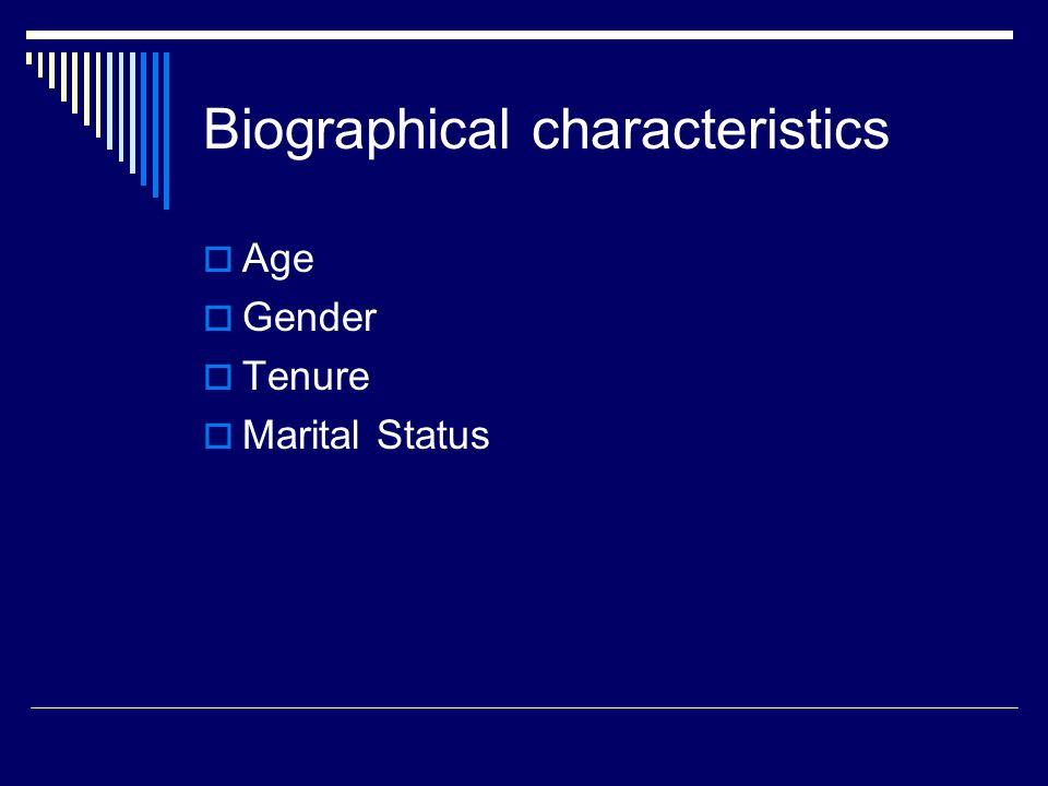 Biographical characteristics  Age  Gender  Tenure  Marital Status