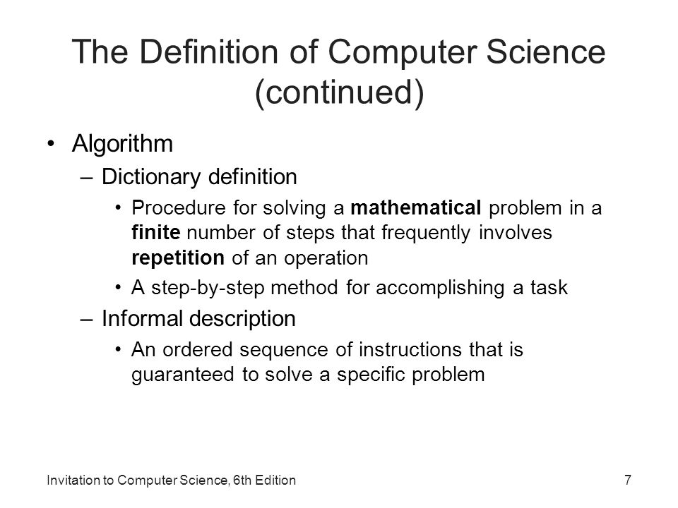 1 invitation to computer science 6 th edition chapter 1 an 7 the definition stopboris Choice Image