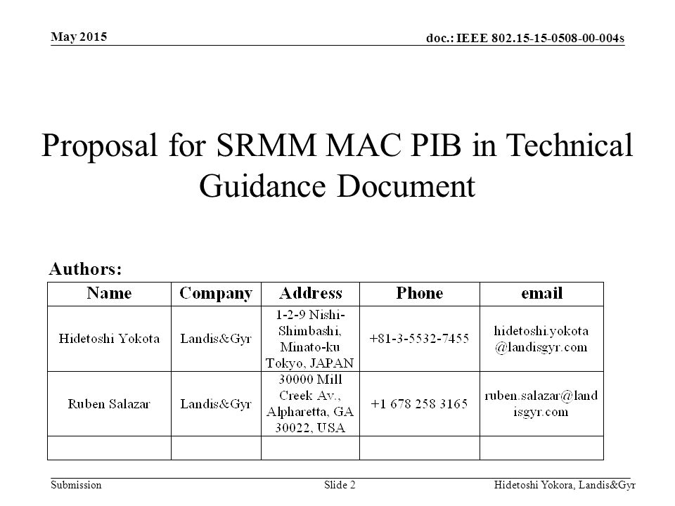 doc.: IEEE s Submission May 2015 Hidetoshi Yokora, Landis&GyrSlide 2 Proposal for SRMM MAC PIB in Technical Guidance Document Authors: