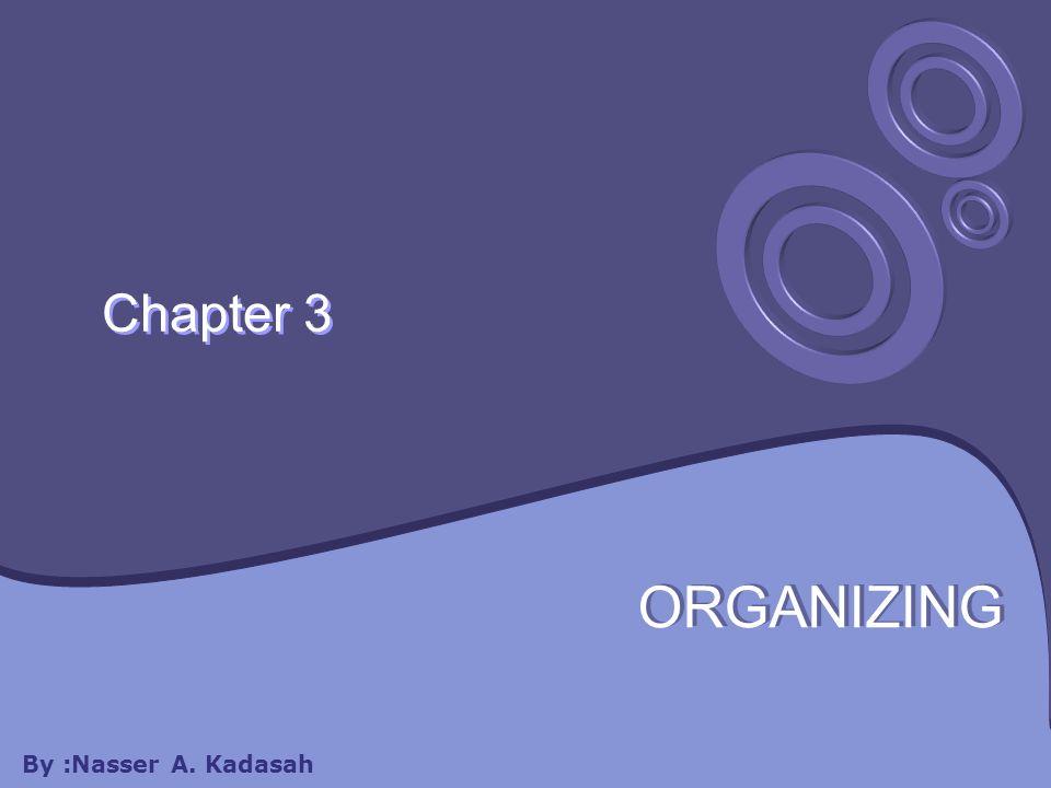 Chapter 3 ORGANIZING By :Nasser A. Kadasah