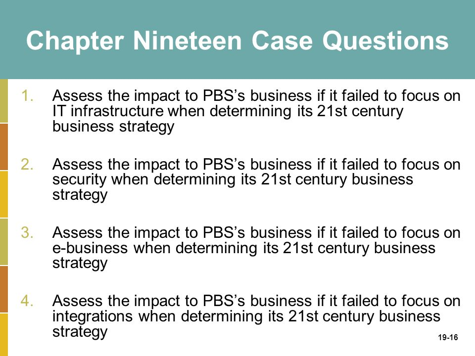 19-16 Chapter Nineteen Case Questions 1.Assess the impact to PBS's business if it failed to focus on IT infrastructure when determining its 21st century business strategy 2.Assess the impact to PBS's business if it failed to focus on security when determining its 21st century business strategy 3.Assess the impact to PBS's business if it failed to focus on e-business when determining its 21st century business strategy 4.Assess the impact to PBS's business if it failed to focus on integrations when determining its 21st century business strategy