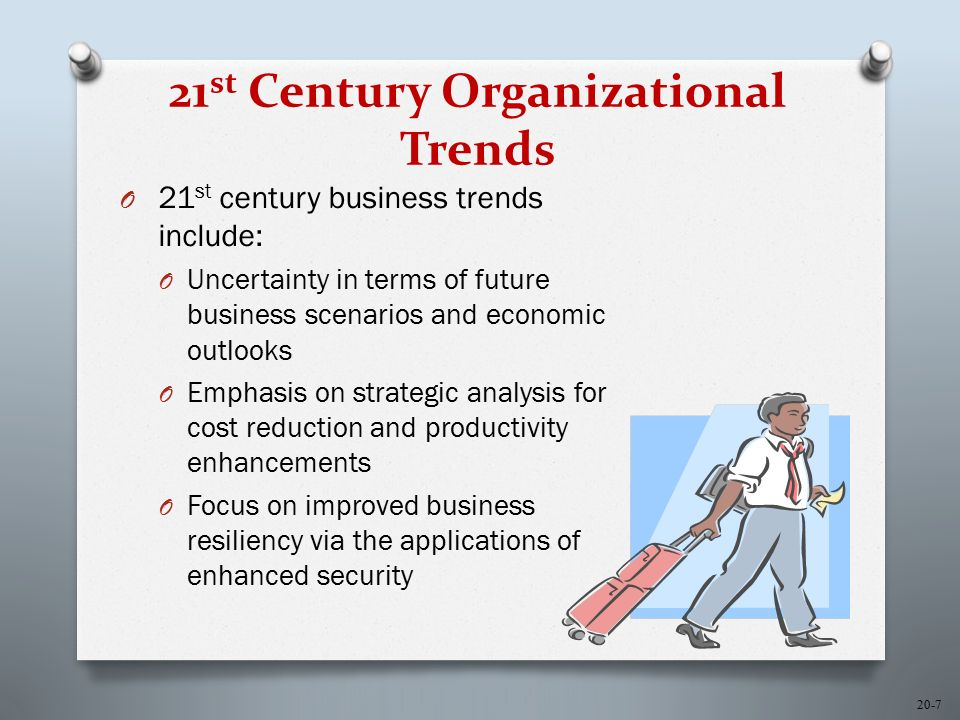 20-7 21 st Century Organizational Trends O 21 st century business trends include: O Uncertainty in terms of future business scenarios and economic outlooks O Emphasis on strategic analysis for cost reduction and productivity enhancements O Focus on improved business resiliency via the applications of enhanced security