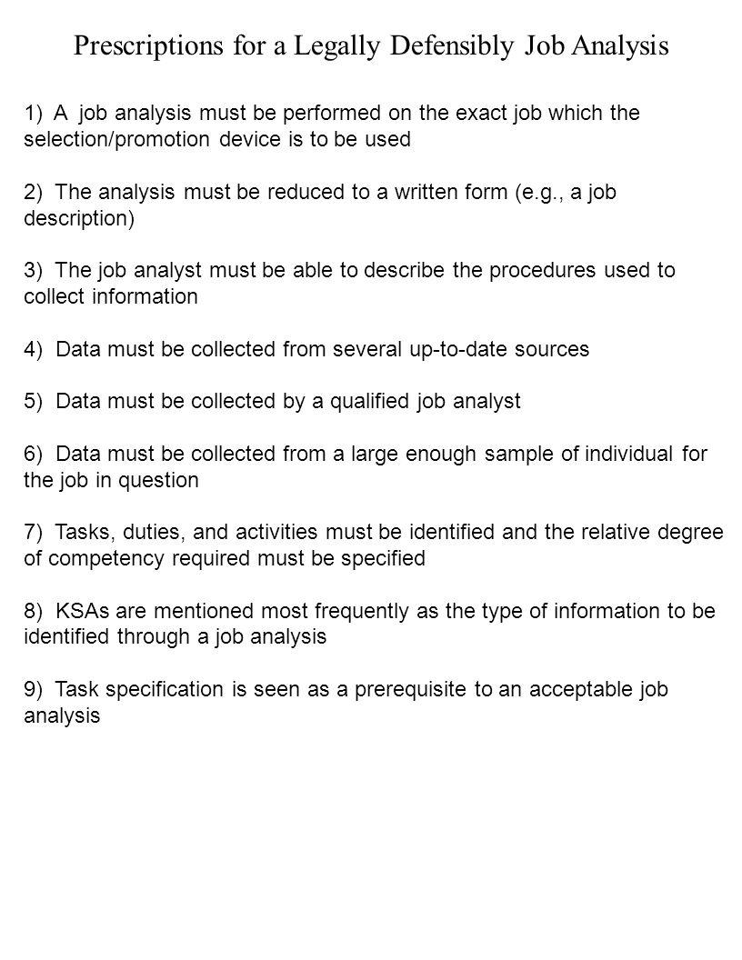 JOB ANALYSIS IDENTIFY AND RATE JOB TASKS KSAs IDENTIFY AND RATE – Sample Job Analysis