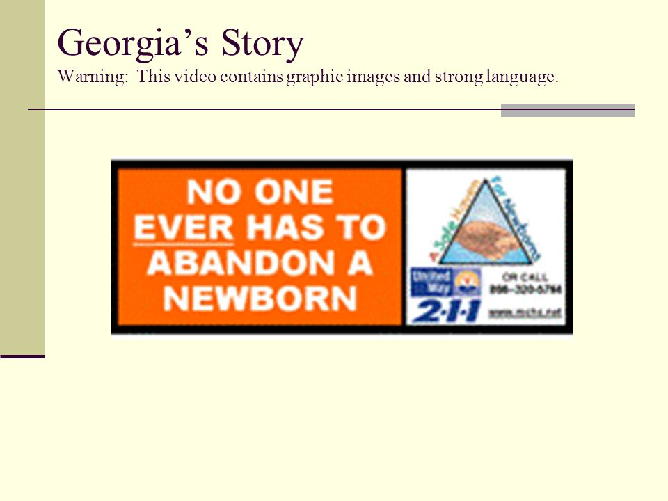 Georgia's Story Warning: This video contains graphic images and strong language.