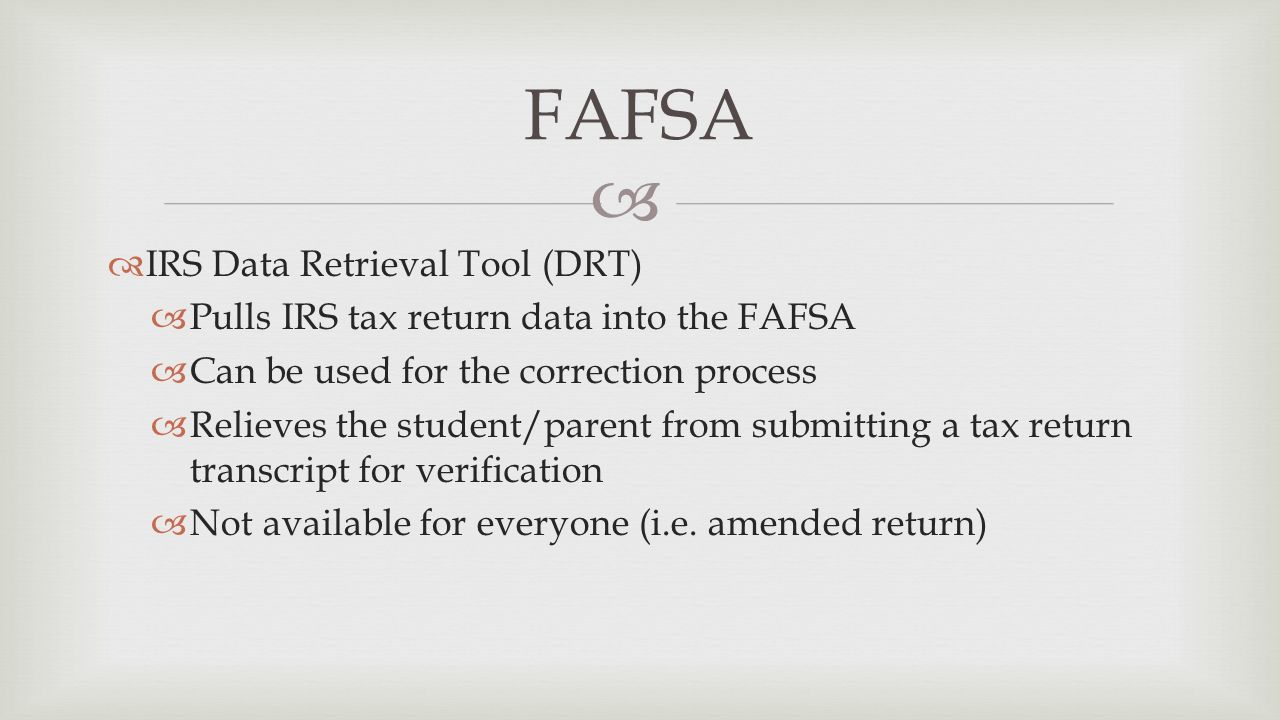 Understand how to complete the fafsa know the required elements irs data retrieval tool drt pulls irs tax return data into falaconquin