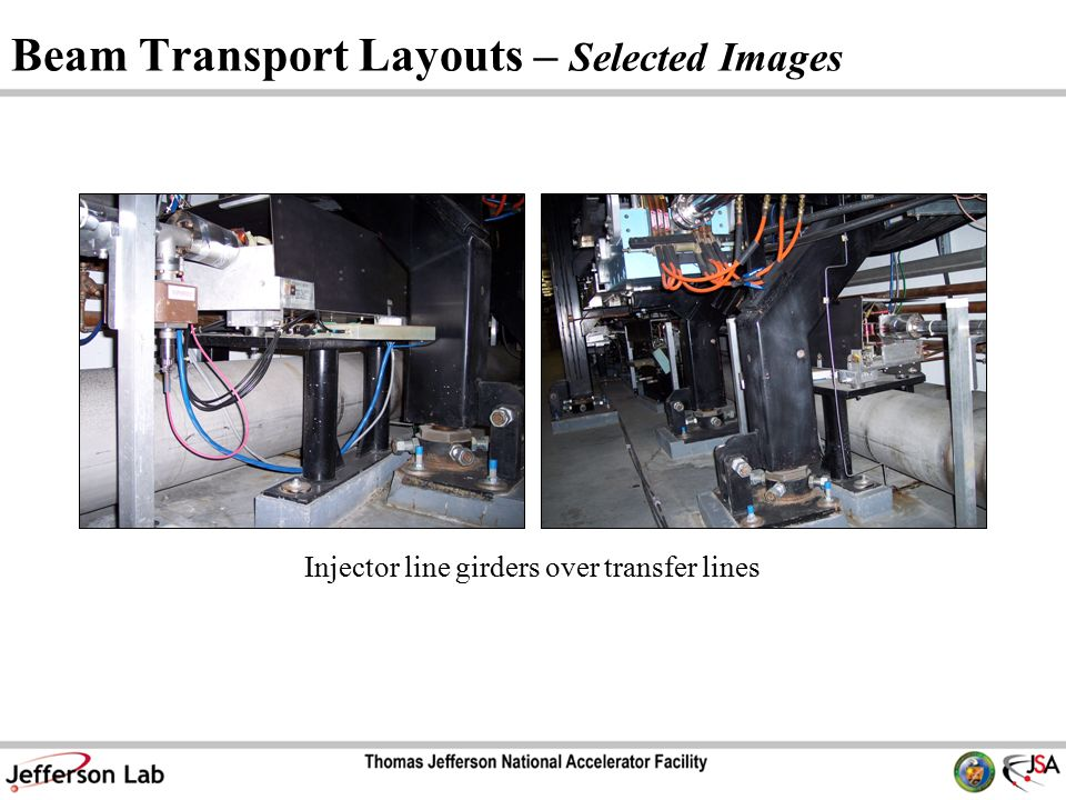 Beam Transport Layouts – Selected Images Injector line girders over transfer lines