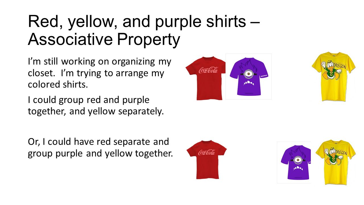 worksheet Working With The Properties Of Mathematics number properties its all about organization what is a property red yellow and purple shirts associative im still working on