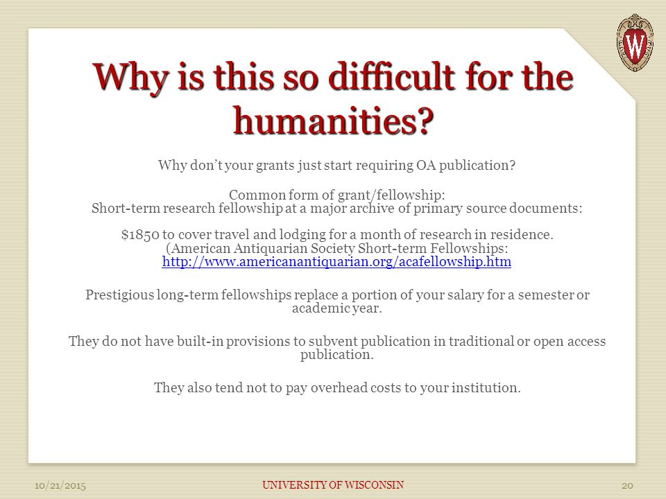 Why is this so difficult for the humanities.