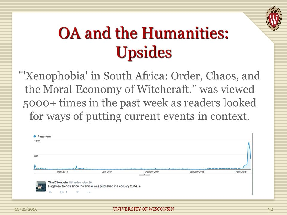 OA and the Humanities: Upsides Xenophobia in South Africa: Order, Chaos, and the Moral Economy of Witchcraft. was viewed times in the past week as readers looked for ways of putting current events in context.
