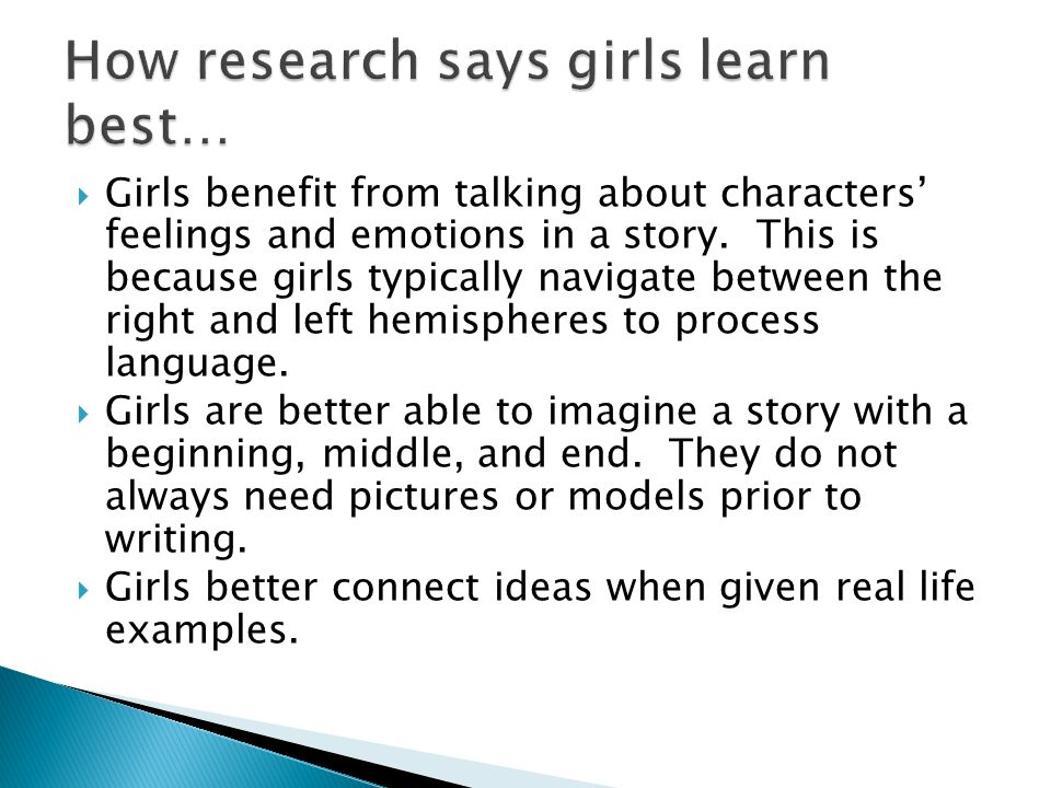  Girls benefit from talking about characters' feelings and emotions in a story.