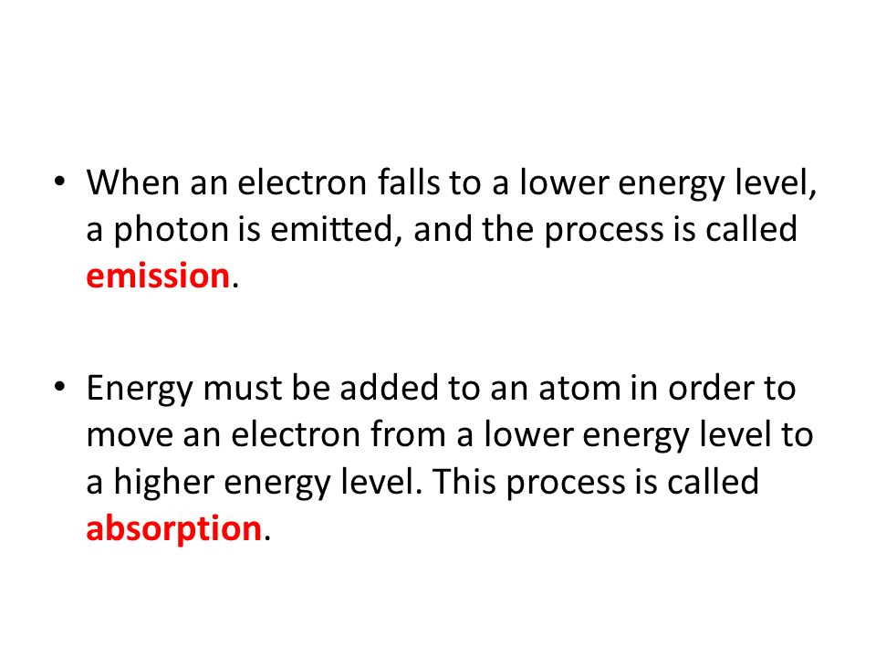 When an electron falls to a lower energy level, a photon is emitted, and the process is called emission.