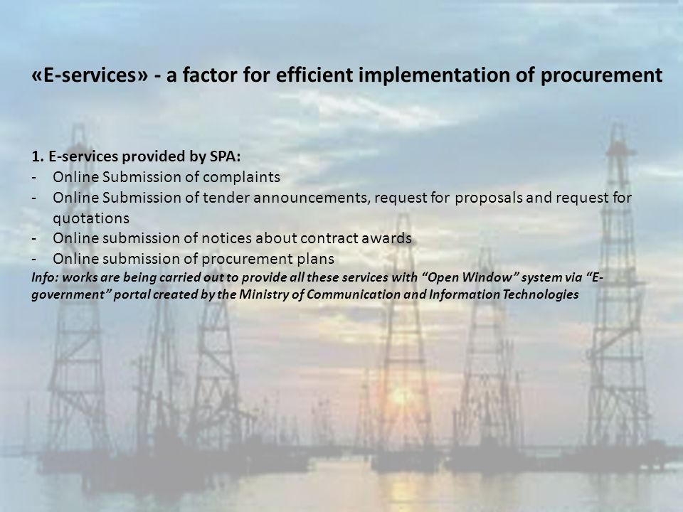 «E-services» - a factor for efficient implementation of procurement 1.