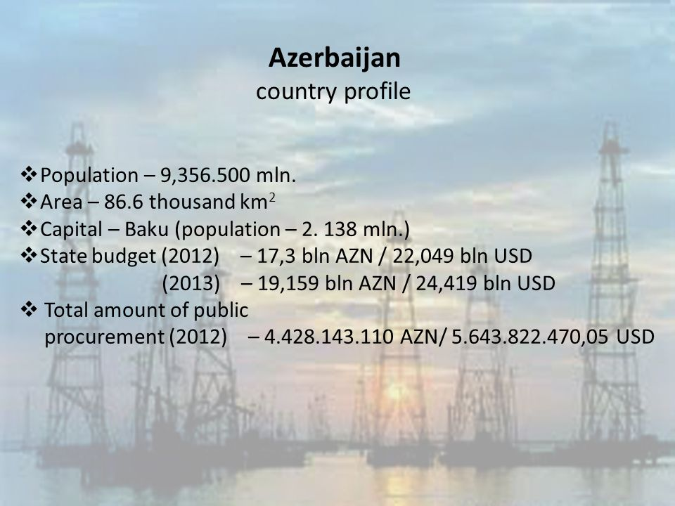 Azerbaijan country profile  Population – 9, mln.