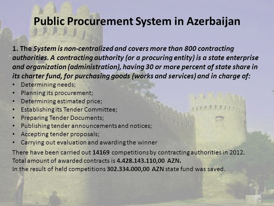 Public Procurement System in Azerbaijan 1.
