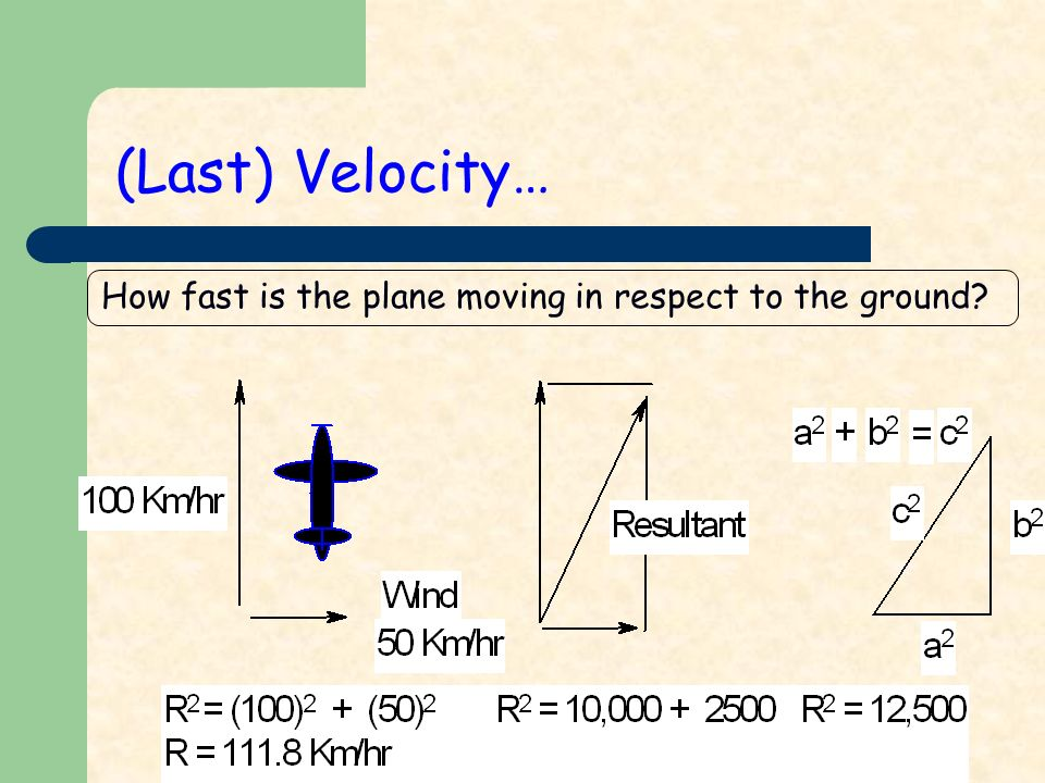 How fast is the plane moving in respect to the ground (Last) Velocity…