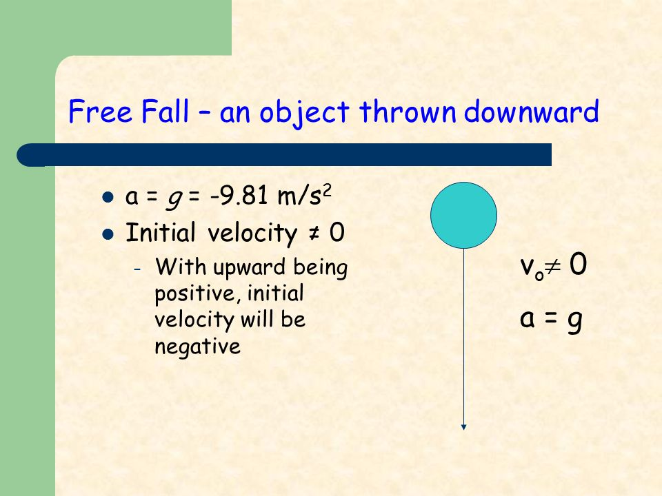 Free Fall – an object thrown downward a = g = m/s 2 Initial velocity ≠ 0 – With upward being positive, initial velocity will be negative v o  0 a = g