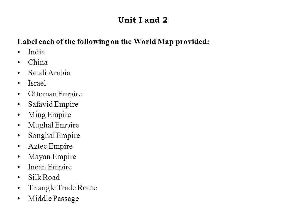 SOL World Map Practice Unit I And Label Each Of The Following - World map practice