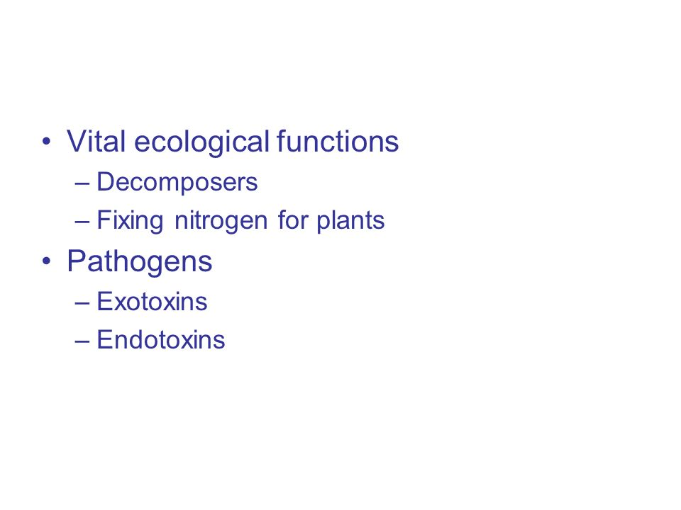 Vital ecological functions –Decomposers –Fixing nitrogen for plants Pathogens –Exotoxins –Endotoxins