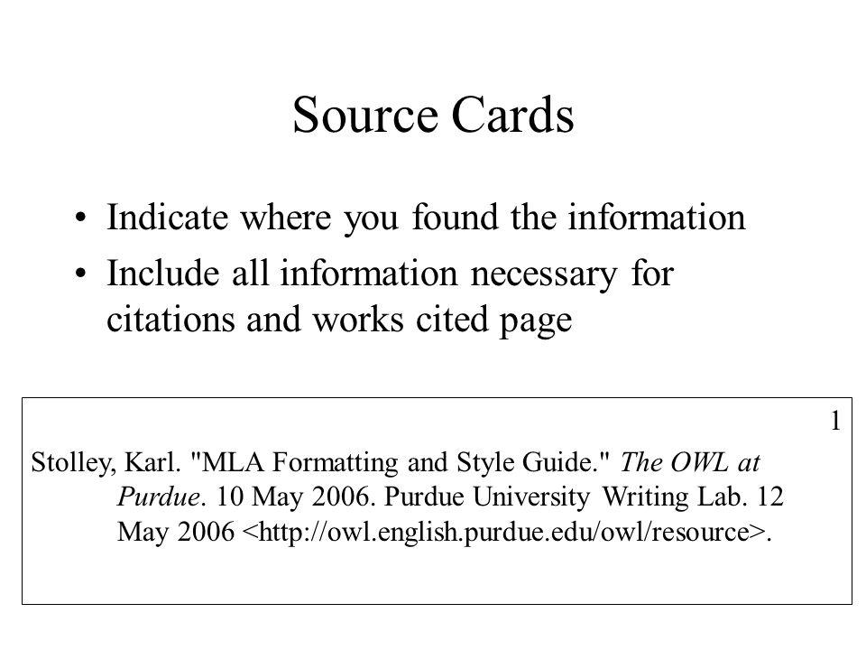 source cards mla