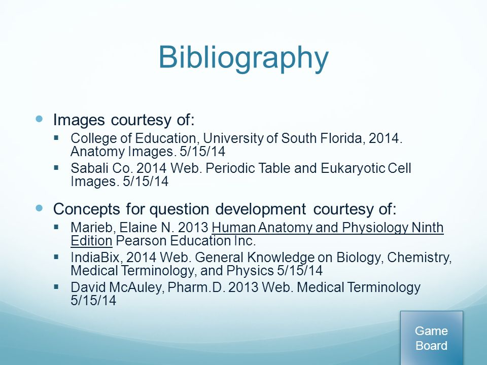 Bibliography. General Biology Chemistry Anatomy and Physiology ...