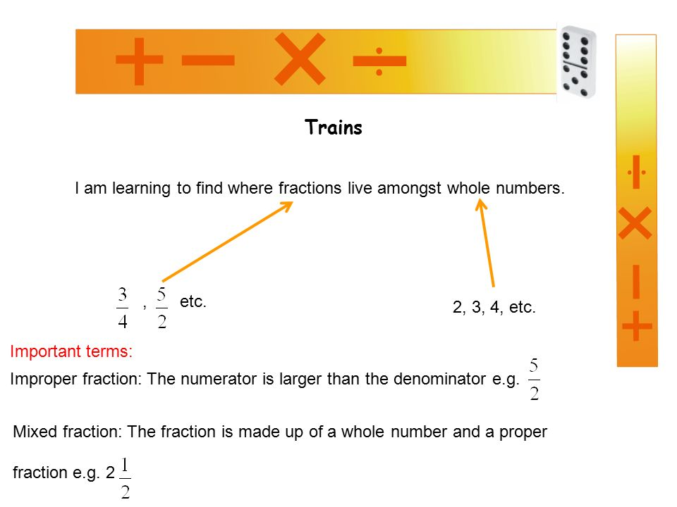 Trains I am learning to find where fractions live amongst whole numbers., etc.