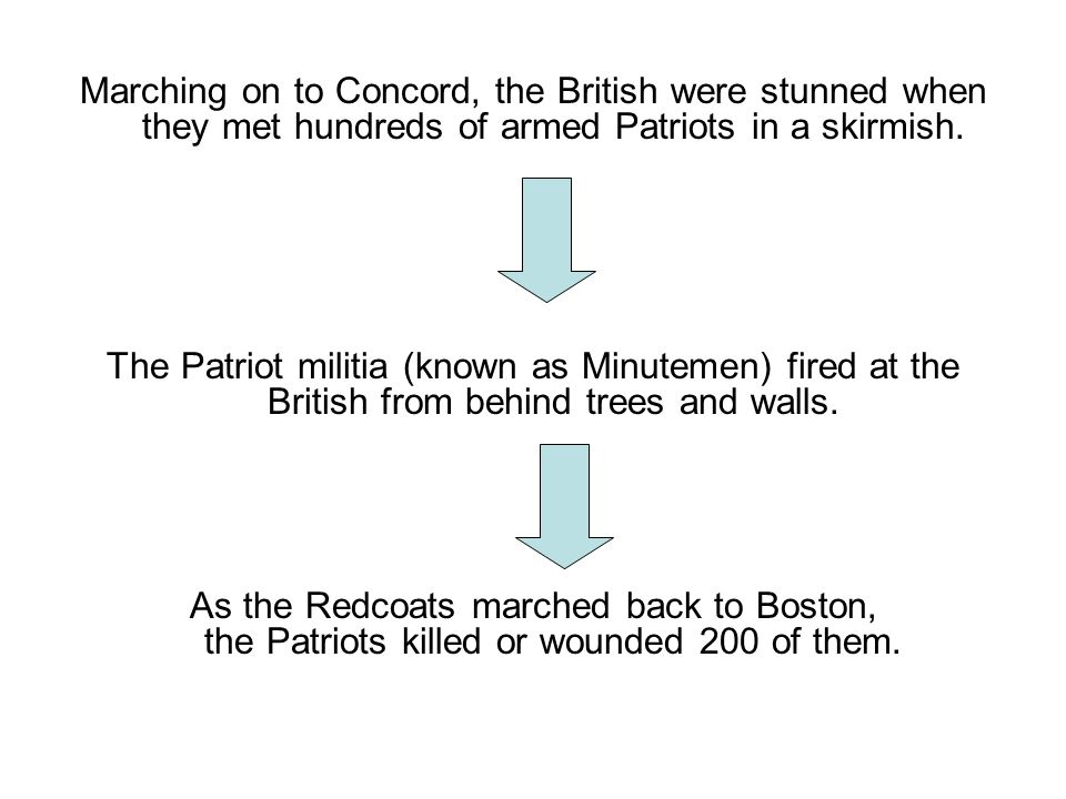 Marching on to Concord, the British were stunned when they met hundreds of armed Patriots in a skirmish.