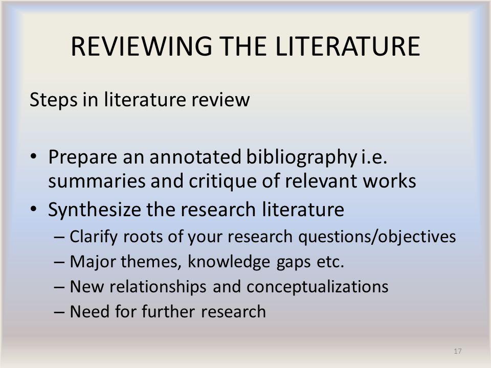 Critique of literature review