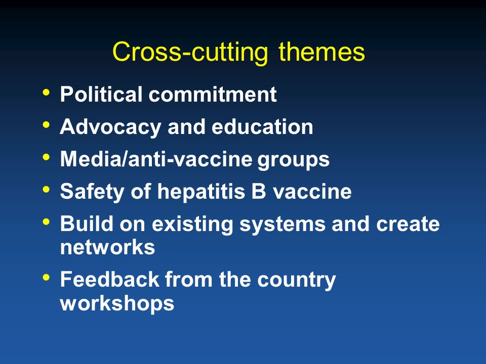 Cross-cutting themes Political commitment Advocacy and education Media/anti-vaccine groups Safety of hepatitis B vaccine Build on existing systems and create networks Feedback from the country workshops