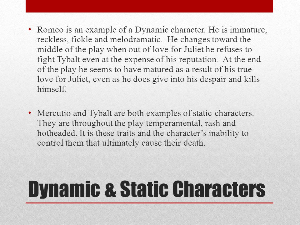 Dynamic And Static Characters Homework Service