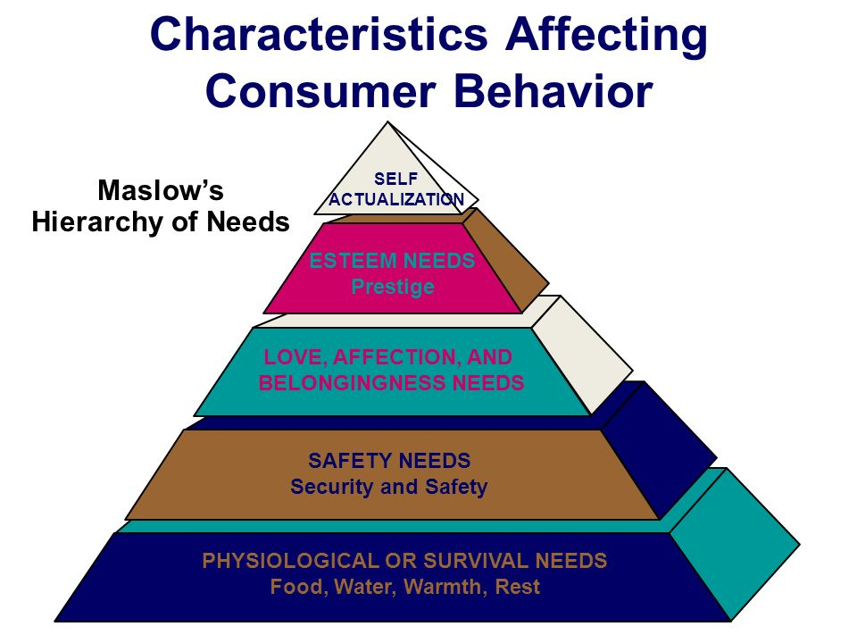 PHYSIOLOGICAL OR SURVIVAL NEEDS Food, Water, Warmth, Rest SAFETY NEEDS Security and Safety LOVE, AFFECTION, AND BELONGINGNESS NEEDS ESTEEM NEEDS Prestige SELF ACTUALIZATION Characteristics Affecting Consumer Behavior Maslow's Hierarchy of Needs