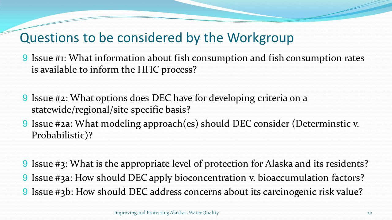 Questions to be considered by the Workgroup 9 Issue #1: What information about fish consumption and fish consumption rates is available to inform the HHC process.