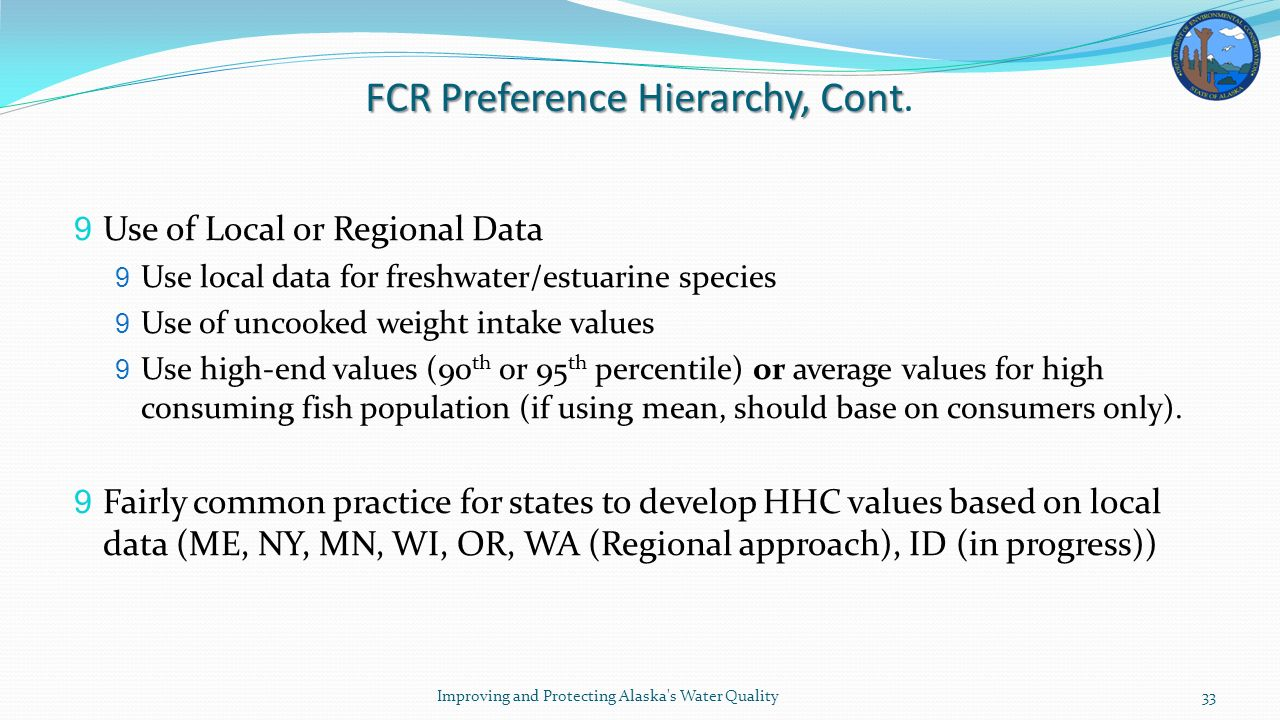 FCR Preference Hierarchy, Cont FCR Preference Hierarchy, Cont.