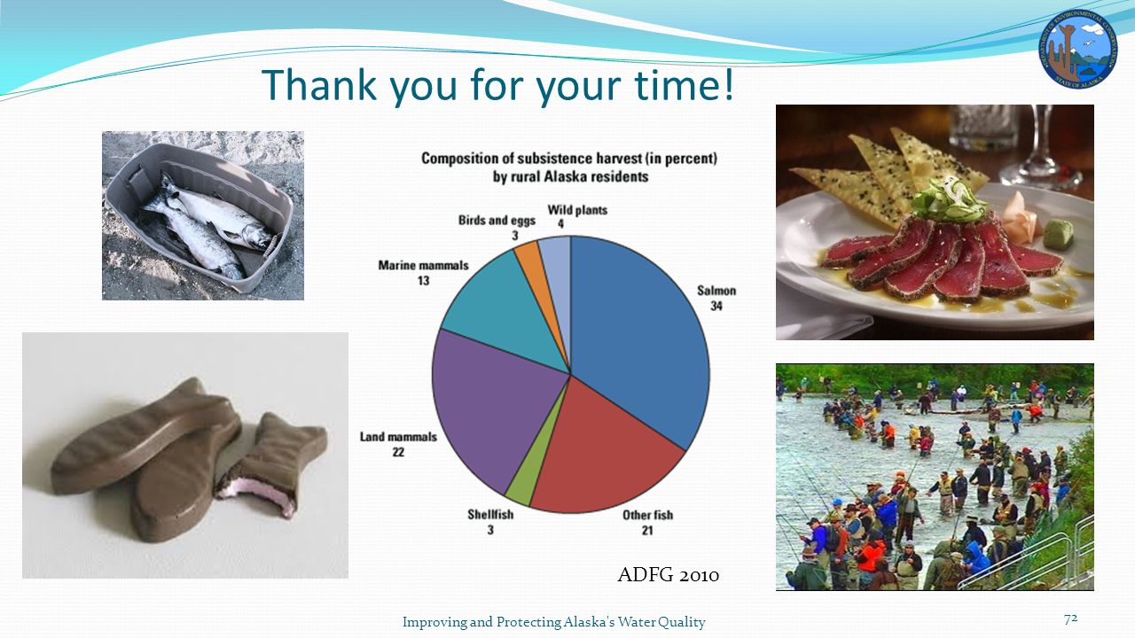 Thank you for your time! Improving and Protecting Alaska s Water Quality 72 ADFG 2010