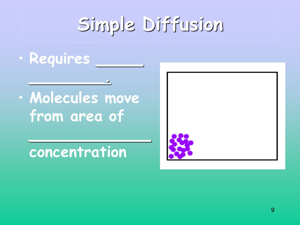 9 Simple Diffusion _____ ________.Requires _____ ________.