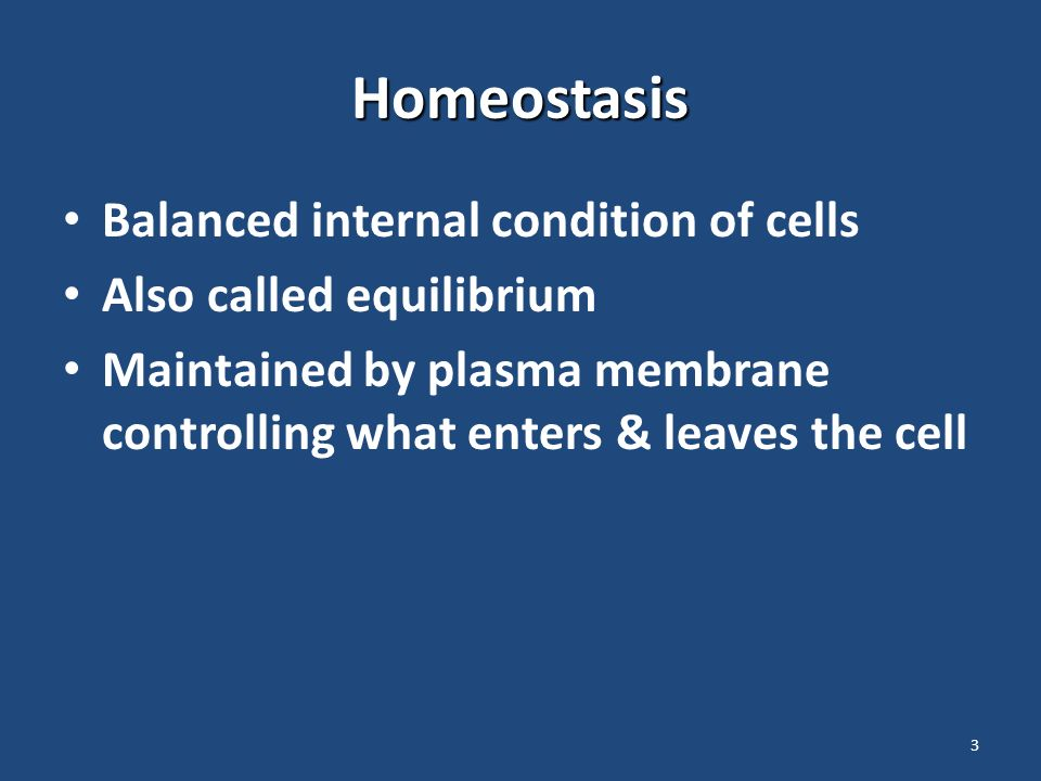 3 Homeostasis Balanced internal condition of cells Also called equilibrium Maintained by plasma membrane controlling what enters & leaves the cell