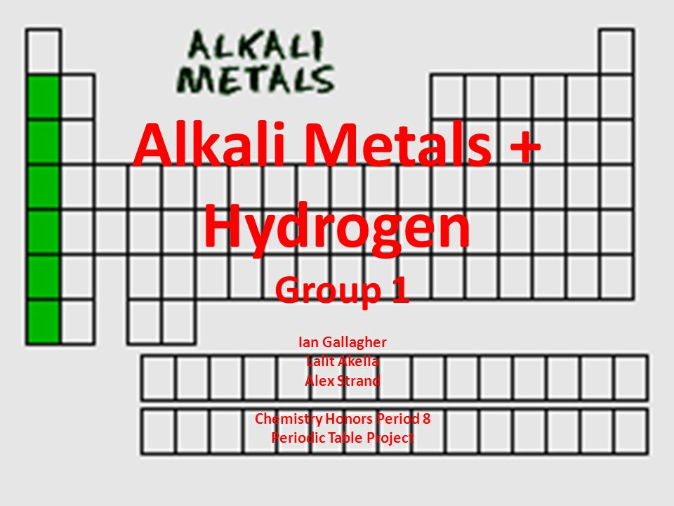 Alkali metals hydrogen group 1 ian gallagher lalit akella alex 1 alkali metals hydrogen group 1 ian gallagher lalit akella alex strand chemistry honors period 8 periodic table project urtaz Choice Image