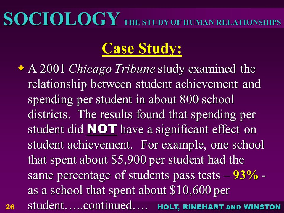 case study in sociology In sociology case study method is a holistic treatment of a subject this method provides for the qualitative analysis of the issues this is an in-depth study of an individual or a situation or an organisation or an institution or a family or a group or a small community.