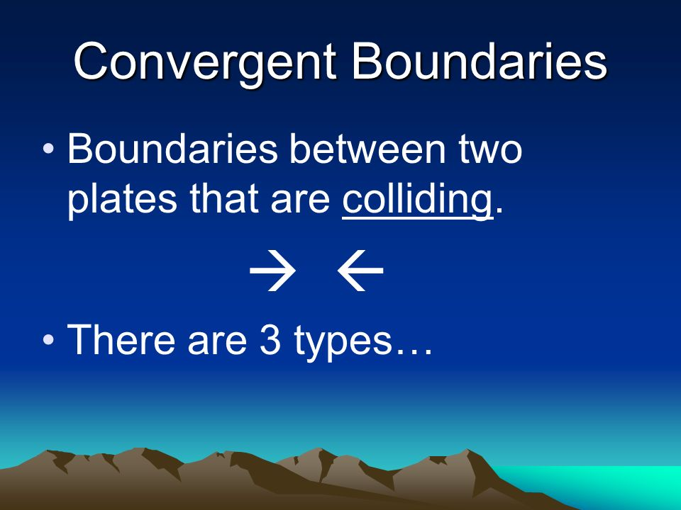 Convergent Boundaries Boundaries between two plates that are colliding.   There are 3 types…